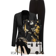 Black Blazer, Black Pants, and Printed Blouse, created by colierollers on Polyvore