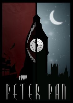 Love this, but wish it were the other way around, with London and the moon on the left and the Crocodile on the right. that way the moon would pull your eye around to Never never land. Peter Pan Art, Peter Pans, Peter Pan Kunst, Disney Kunst, Art Disney, Disney Love, Disney Artwork, Peter Pan Disney, Disney Films