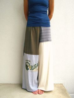 T Shirt Pants / Wide Leg / Palazzo Style / Black Blue Green Gray Cream / Recycled / Upcycled / Drawstring / Fashion / Cotton / Soft / ohzie