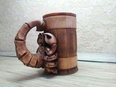 Wooden Tankard Beer Stein Mug Scorpion Carved Souvenir Cedar Gift HandMade Cup Barrel (0.7/23.6 oz) by AuthenticSiberia on Etsy