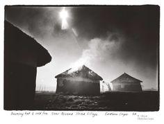 Obie Oberholzer - Black and white photos. Burning hut & veld fire. Near Bizana Xhosa Village. Eastern Cape S.A.