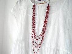 Coral five strands necklace Coral long necklace by OneOfferJewelry