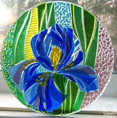 "Repina Elena. Glass dish for the holiday table, ""Blue toffees"" fusing"