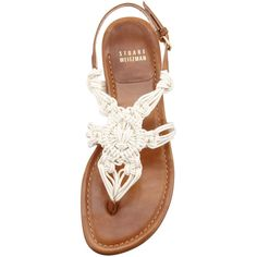 Stuart Weitzman Corded Thong Flat Sandal, Saddle ($298) ❤ liked on Polyvore featuring shoes, sandals, flats, bohemian sandals, leather sandals, leather sole sandals, leather shoes and flat sandals
