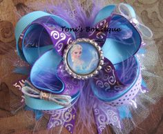 Frozen Bow Disney Frozen Bow Over The Top Bow by TonisBowtique, $9.45
