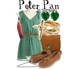Peter Pan inspired outfit by Disney Bound Disney Themed Outfits, Disney Bound Outfits, Disney Dresses, Disney Clothes, Estilo Disney, Halloween Costumes For Teens, Disney Costumes, Friend Costumes, Mom Costumes