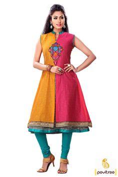 Indian #Pink and #Yellow #Silk #AnarkaliKurti Online for Ladies #kurti, #embroiderykurtis, #casualkurtis, #Indiankurtis, #kurtisonlineshopping, #fancykurtis, #longkurtis, #tunics, #tunic, #longkurta, #tunictop, #partywearkurti,   #womentunic, #ladieskurti, #valentinedresses More : http://www.pavitraa.in/store/anarkali-kurtis/?utm_source=mk&utm_medium=pinterestpost&utm_campaign=11Jan Any Query :  Call / WhatsApp : +91-76982-34040