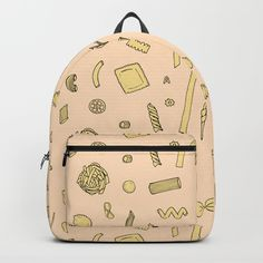Pasta pattern Backpack by laurafrere Graphic, Fashion Backpack, Pasta, Backpacks, Patterns, Stuff To Buy, Bags, Pattern, Block Prints