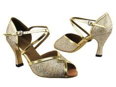 Very Fine Ladies Women Ballroom Dance Shoes for Latin Salsa Tango Classic 2721 Gold Sparklenet and GT 3' Heel * Click image to review more details.