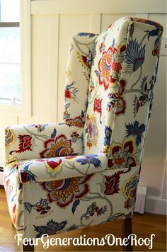 DIY Reupholstered Dining Room Wingback Chair The Fabric Is Samoen Plantation Gem By Iman
