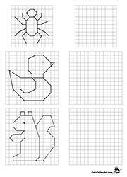 Exercice ludique à imprimer, reproduire une figure sur quadrillage