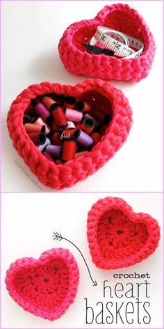 Crochet Heart Basket Free Patterns