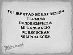 TU LIBERTAD DE EXPRESIÓN TERMINA DONDE EMPIEZA MI CANSANCIO DE ESCUCHAR GILIPOLLECES