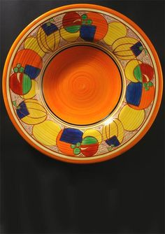 'orange melon' a clarice cliff fantasque bizarre wall charger painted with radial repeat design pri Ceramic Pottery, Pottery Art, Clarice Cliff, Art Deco Era, China Patterns, Ceramic Artists, Vintage China, Sculptures, Porcelain