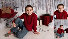 boy, holiday, red, sweater, presents, sled, studio, winter, christmas, photos, photography