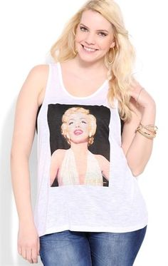 Deb Shops Plus Size Deep Armhole Tank with Marilyn Monroe Screen $12.00