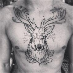Black Outline Deer Tattoo On Man Chest Tropisches Tattoo, Tattoos 3d, Tatoo Art, Trendy Tattoos, Life Tattoos, Flower Tattoos, Tattoos For Guys, Sleeve Tattoos, Tattos