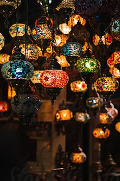 Colourful Traditional Lamps In Market At Night Traditional Lamps, Moroccan Lamp, Us Images, Design Elements, Lanterns, Christmas Bulbs, Oriental, The Unit, Stock Photos
