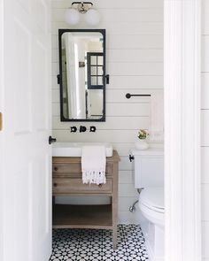 Half bathroom ideas and they're perfect for guests. They don't have to be as functional as the family bathrooms, so hope you enjoy these ideas. Update your bathroom decor quickly with these budget-friendly, charming half bathroom ideas Modern Farmhouse Bathroom, Modern Farmhouse Style, Bathroom Inspiration, Bathroom Decor, Small Bathroom Remodel, Farmhouse Bathroom Decor, Bathrooms Remodel, Downstairs Bathroom, Bathroom Vanity Remodel