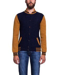 Monsieur Lacenaire - Teddy Knitted Varsity Jacket Navy Mustard - SOTO Berlin