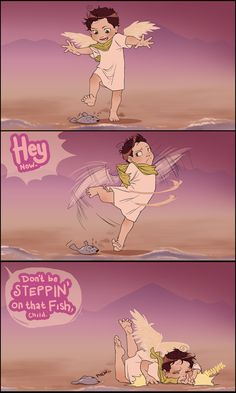 Supernatural. Don't step on that fish Castiel. Big plans for that fish.