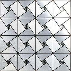 Kitchen Backsplash Tiles Metallic Mosaic Aluminum Plate Diamond Crystal Glass Tile Design Art Discount Bathroom Wall Stickers-in Mosaics from Home Improvement on Aliexpress.com | Alibaba Group  $221.43/lot (11pcs)