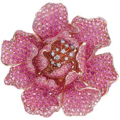 Pink Flower Diamond Brooch by Goldiaq