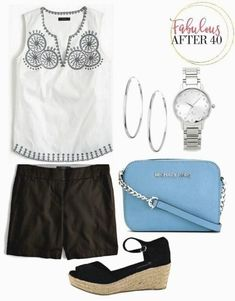 4 classy ways to look cute in shorts over fabulous after. Boho Fashion Over 40, Fashion For Women Over 40, Black Women Fashion, Womens Fashion For Work, Summer Outfits Women Over 40, Summer Dresses, Short Outfits, Cute Outfits, Classy Outfits