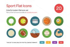 Check out Sport Flat Icons Set by roundicons.com on Creative Market