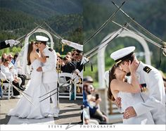 Sword Arch Kiss, military wedding