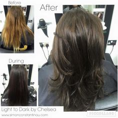 Light to dark, by Chelsea ✨  This lady wanted to transform her hair colour from a grown-out ombré to a Zooey Deschanel inspired cool brunette. In order to ensure an even coverage, Chelsea used a colour mousse to prepare the hair and then followed this with a semi to guarantee the diamond gloss. Great results!   For hair colour expertise and advice call 02920461191 to book or enquire.  O.Constantinou & Sons, 99 Crwys Rd, Cardiff. CF24 4NF  #simonconstantinou #cardiffsalon #goldwell #haircolor