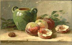 Peaches with green vase C. Klein