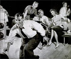 Lets Bowl! detail from an ad for beer