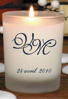 Bougie personnalisable - Alcante - Bougie parfumée pour mariage avec initiales - Remerciements mariage : cadeaux invités mariage, cadeau invités