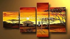 Abstract Art, 4 Piece Canvas Art, Oil Painting for Sale, African Woman Village Sunset Painting Hand Painting Art, Large Painting, Oil Painting On Canvas, Woman Painting, Abstract Wall Art, Canvas Wall Art, African Wall Art, Sunrise Painting, African Paintings