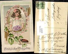 203079,Pfingsten Präge Litho Mädchen m. Blumenkorb Birkenzweig Maikäfer Käfer Pa | eBay