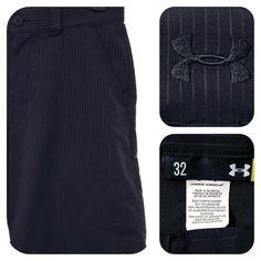 Under Armour Men's GOLF Shorts Sz 32 Black Micro Stripe Flat Front Nylon Poly #Underarmour #FlatFront