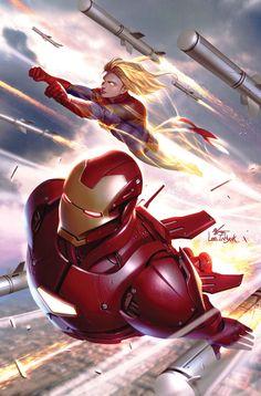 Tony Stark: Iron Man - Captain Marvel by In-Hyuk Lee * Captain Marvel News, Captain Marvel Carol Danvers, Marvel E Dc, Marvel Avengers, Marvel Universe, Marvel Comics Superheroes, Marvel Comic Books, Marvel Heroes, Iron Man Comic Books