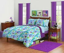 blue and green teen bed sets | ... or Full Queen Size squares Reversible Comforter set Green Purple Teen