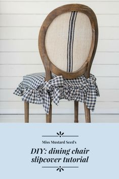 A video tutorial on how to make a tie-on slipcover with a ruffled skirt.