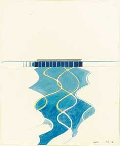 Study of Water in a Pool (David Hockney, 1966  pencil and colored pencil on paper, 17 x 14 in)