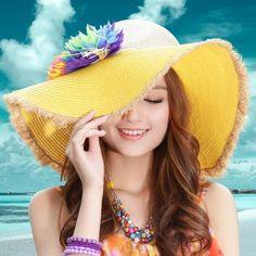 Yellow straw wide brim sun hat flower decoration for girls