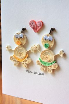 Whoa, Babies - Twin Card - Expecting- Pregnancy - New Baby - Congratulations