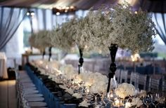 Chic, tall centerpieces with Baby's breath