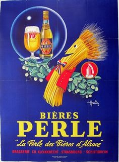 Bieres Perle ,hops and wheat ,vintage poster