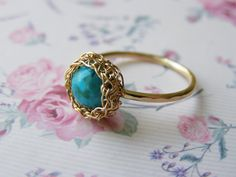 Turquoise Ring, Solitaire Ring, Crochet Ring, Goldfilled Turquoise Ring, Wire Crochet Jewelry, Bridesmaid Jewelry,. $40.00, via Etsy.