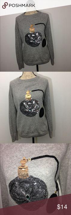 💥H&M Grey Perfume Bottle Sweater H&M Grey Perfume Bottle Sweater. Perfume bottle is made of sequence. H&M Sweaters Crew & Scoop Necks
