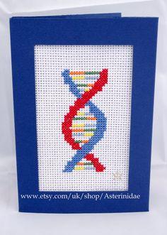 DNA helix cross-stitch PDF chart by Asterinidae on Etsy Simple Cross Stitch, Cross Stitch Charts, Cross Stitch Designs, Cross Stitch Patterns, Filet Crochet, Crochet Cross, Learn Embroidery, Cross Stitch Embroidery, Beading Patterns