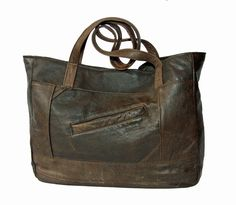 Distressed Brown Leather Tote - made in New Orleans by Uptown Redesigns