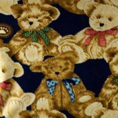 Brown   Tan Teddy Bear on Navy Blue Fleece Fabric 9276baeaf